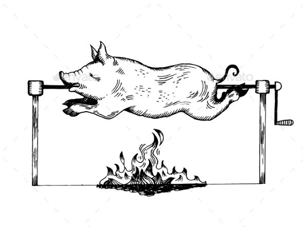GraphicRiver Piggy on Spit Engraving Vector Illustration 20859893
