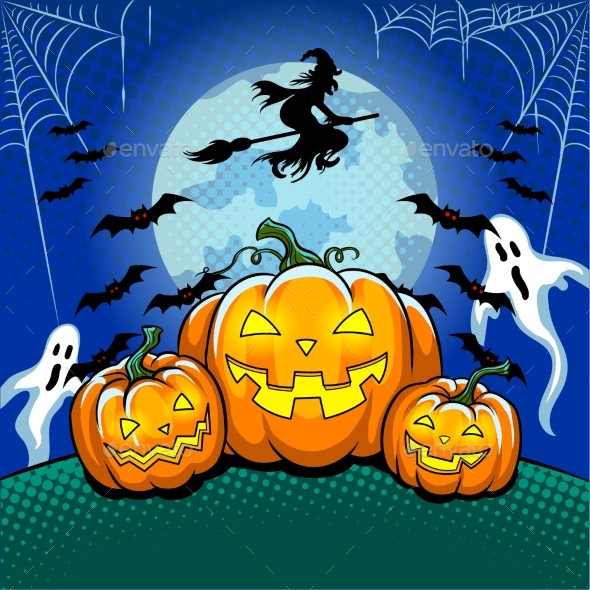 Halloween Theme Pop Art Vector Illustration
