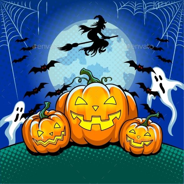 Halloween Theme Pop Art Vector Illustration - Halloween Seasons/Holidays