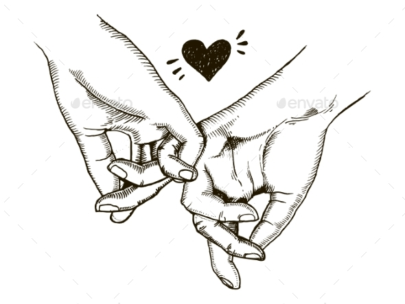 GraphicRiver Couple in Love Hold Hands Engraving Vector 20859986