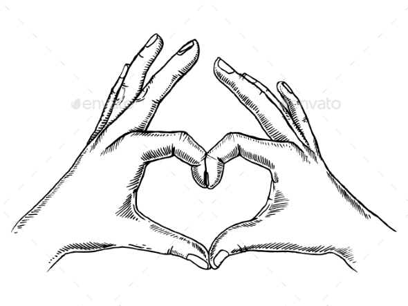 GraphicRiver Hands Making Heart Sign Engraving Vector 20859995