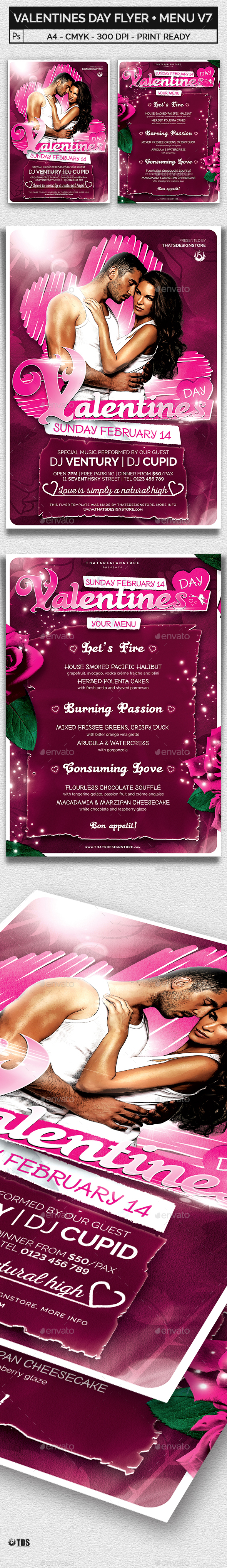Valentines Day Flyer + Menu Bundle V7 - Holidays Events