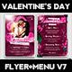 Valentines Day Flyer + Menu Bundle V7 - GraphicRiver Item for Sale
