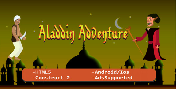 Aladdin Adventure Autorunner (HTML5 Game + Construct 2 CAPX) - CodeCanyon Item for Sale