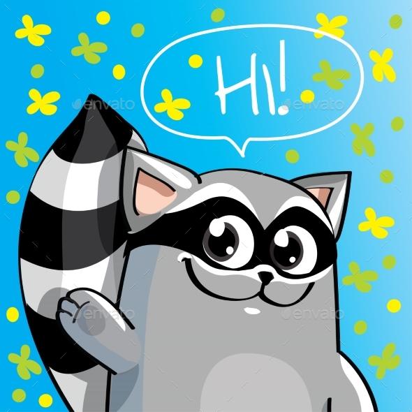 Vector Illustration of Cartoon Raccoon - Animals Characters
