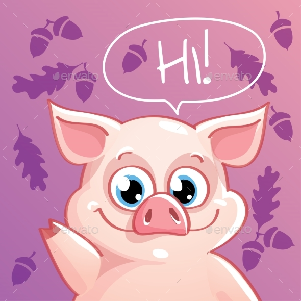 Vector Illustration of Cartoon Pig - Animals Characters