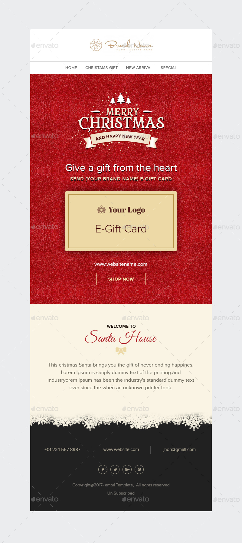 X-mas E-Gift - Christmas E-Gift card Email Template PSD by ...