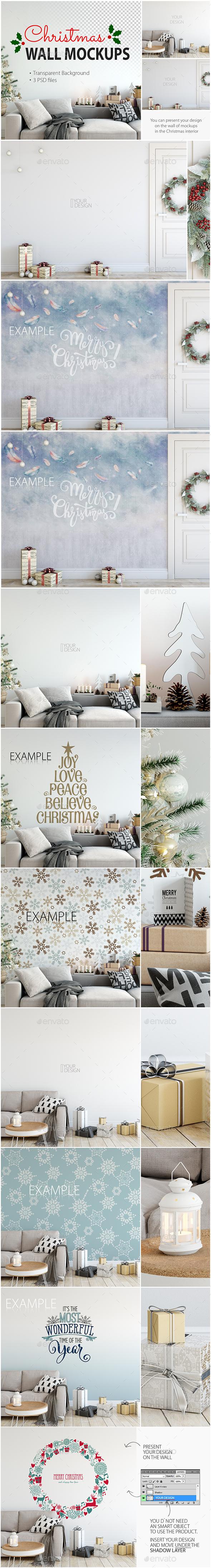 Christmas Wall Mockups - Product Mock-Ups Graphics