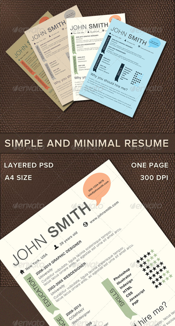 Simple And Minimal Resume - Resumes Stationery