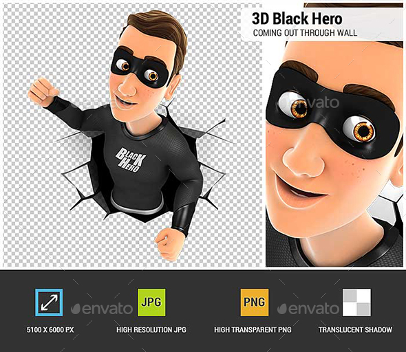 3D Black Hero Coming Out Through a Wall - Characters 3D Renders