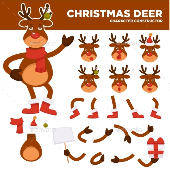 Christmas Deer Cartoon Character Constructor - Christmas Seasons/Holidays