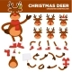 Christmas Deer Cartoon Character Constructor - GraphicRiver Item for Sale
