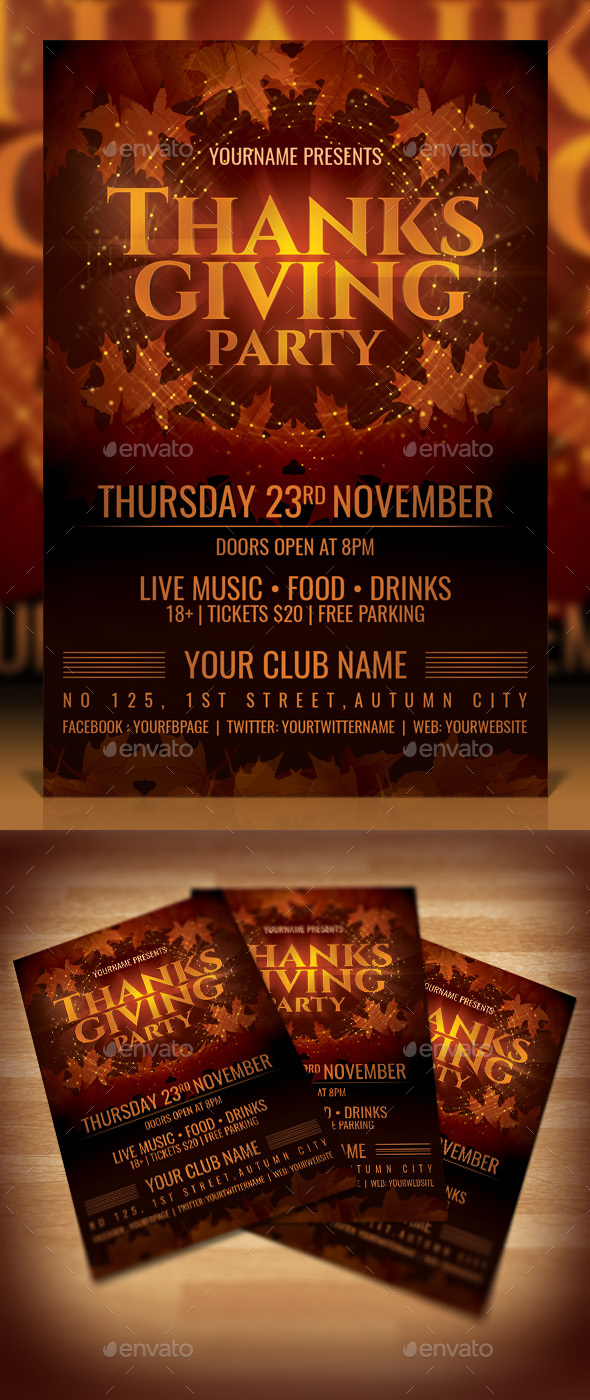 Thanksgiving Party Flyer - Events Flyers