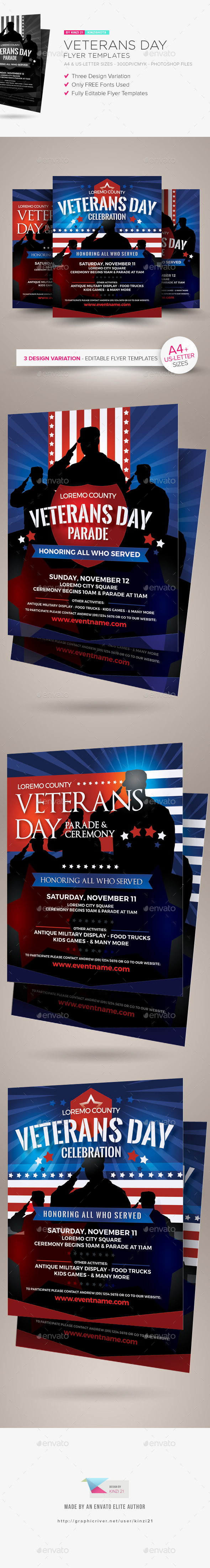 Veterans Day Flyer Templates - Holidays Events