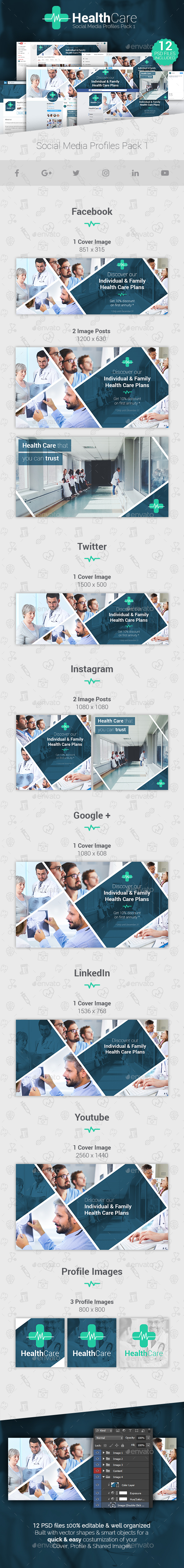 HealthCare - Social Media Cover/Profile Pack - Social Media Web Elements