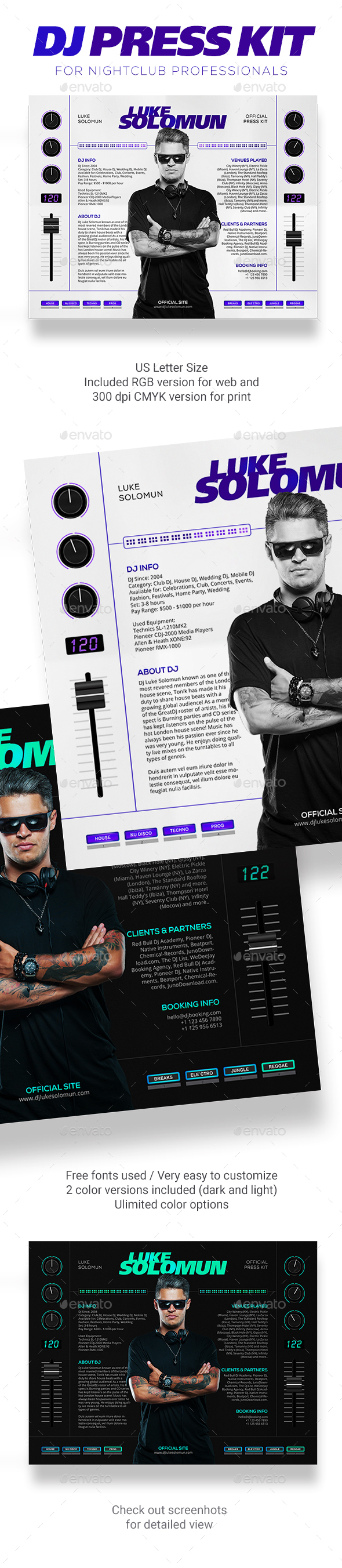 MaDJestik - DJ Press Kit / DJ Resume / DJ Rider PSD Template - Resumes Stationery