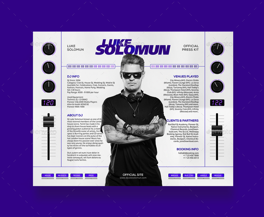 Madjestik dj press kit dj resume dj rider psd for Digital press kit template free