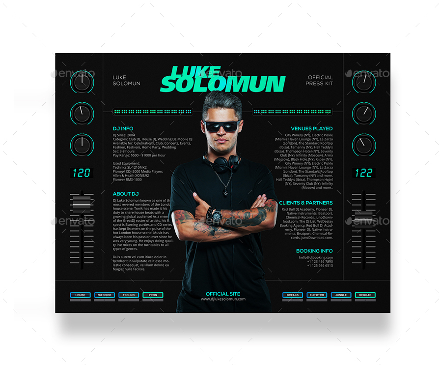Madjestik dj press kit dj resume dj rider psd for Dj press kit template free