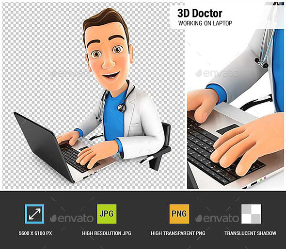3D Doctor Working on Laptop - Characters 3D Renders
