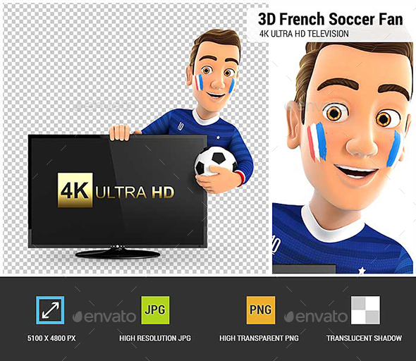 3D French Soccer Fan with 4K Ultra HD Television - Characters 3D Renders