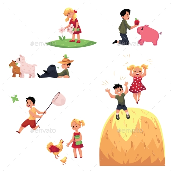 Children Spend Summer Vacation on Farm - People Characters