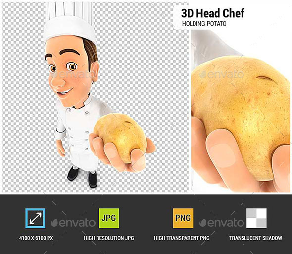 3D Head Chef Holding a Potato - Characters 3D Renders