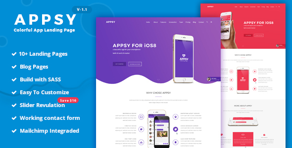 Image of APPSY - Colorful App Landing Page Template