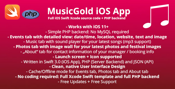 MusicGold iOS App Template + full PHP Server backend - CodeCanyon Item for Sale