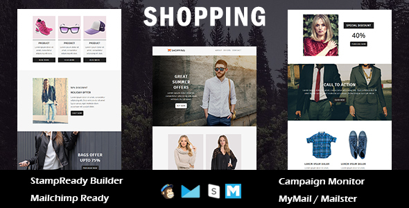 Shopping - Ecommerce Responsive Email Template with Stampready Builder Access - Newsletters Email Templates