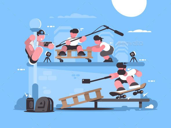 Guy Makes Selfie Photo and Video - Miscellaneous Vectors