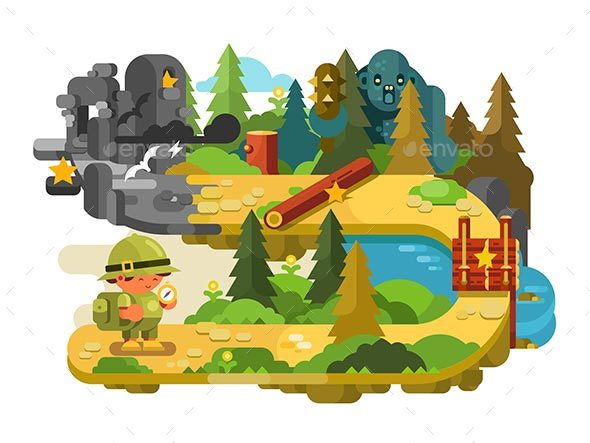 GraphicRiver Travelers Adventures on Forest Trail Flat Design 20862173