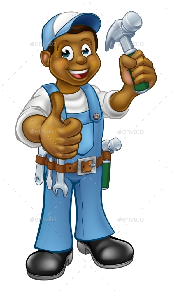 GraphicRiver Cartoon Black Carpenter Character 20862252
