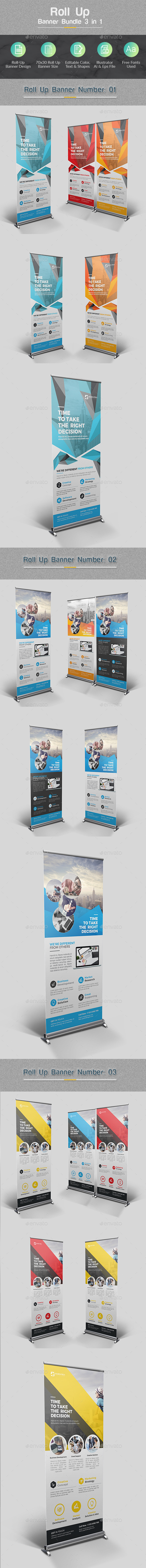 Roll Up Banner Bundle 3 in 1 - Corporate Brochures