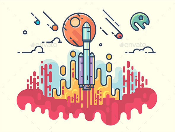 GraphicRiver Launching Rocket Into Space 20862280