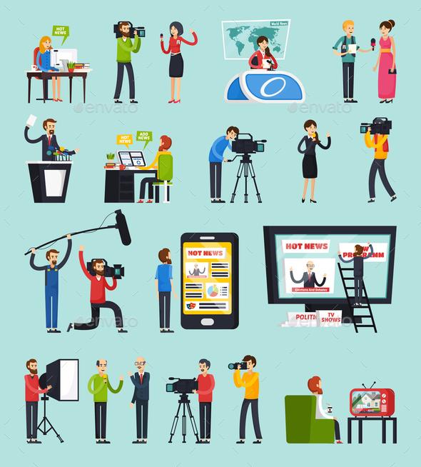 GraphicRiver Creating News Orthogonal Icons Set 20862359