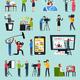 Creating News Orthogonal Icons Set