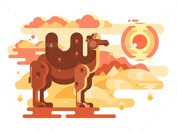 Two-Humped Camel in Desert - Animals Characters