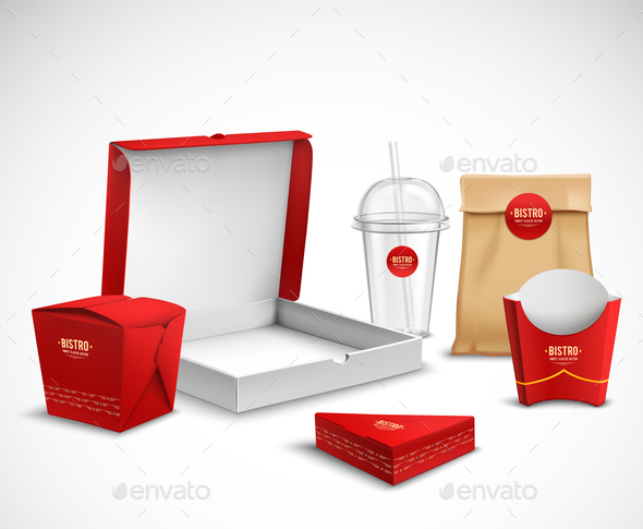 Packaging Fast Food Realistic Set - Food Objects