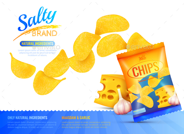 Salty Snacks Ad Poster - Patterns Decorative