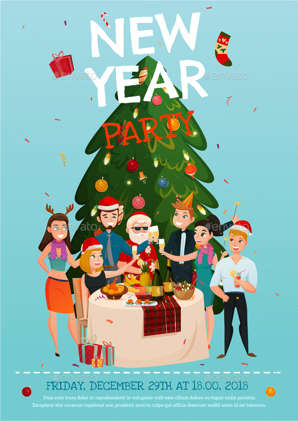 New Year Party Poster - People Characters