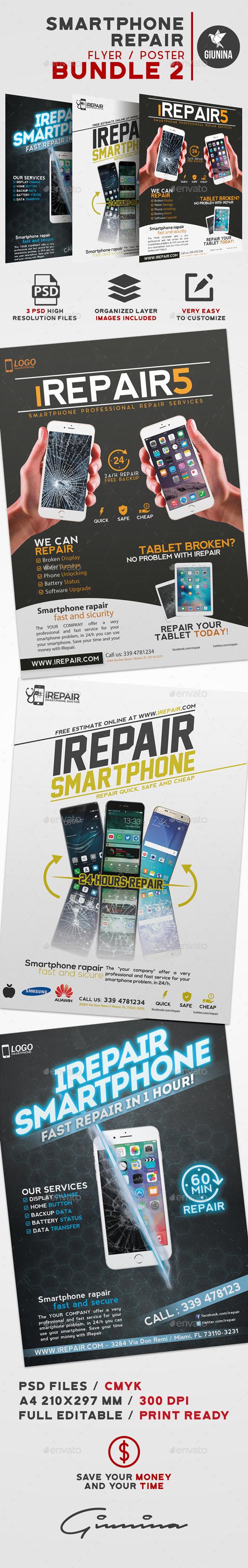 Smartphone Repair Flyer/Poster Bundle 2 - Commerce Flyers