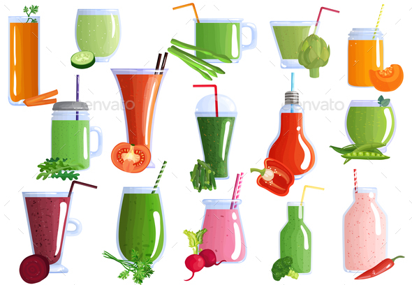 GraphicRiver Vegetable Smoothies Set 20862420