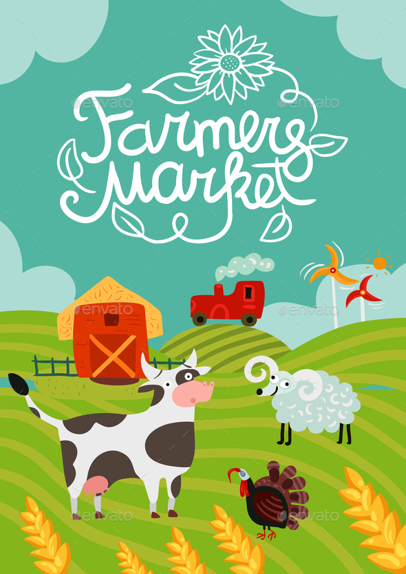 Farmers Market Poster - Animals Characters