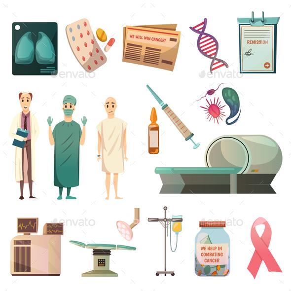 Defeat Cancer Orthogonal Icons Set - Health/Medicine Conceptual