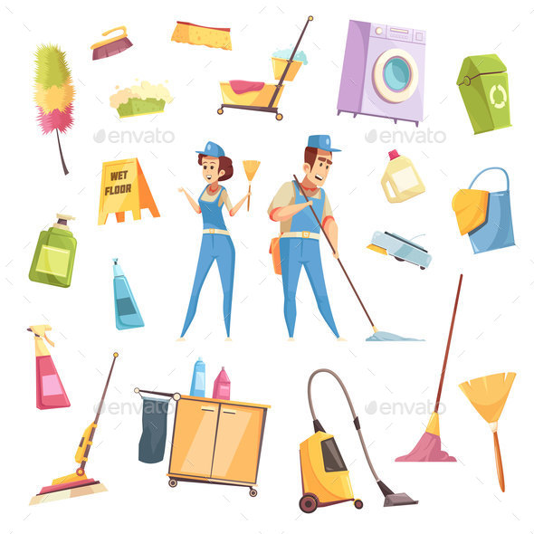 Cleaning Service Icons Set - Services Commercial / Shopping