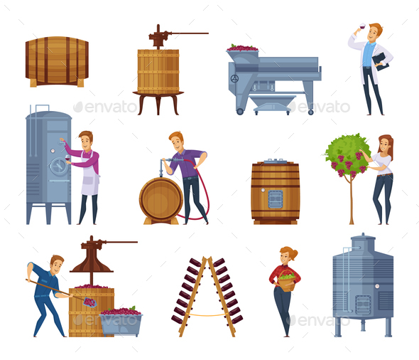 GraphicRiver Wine Production Cartoon Icons Set 20862439