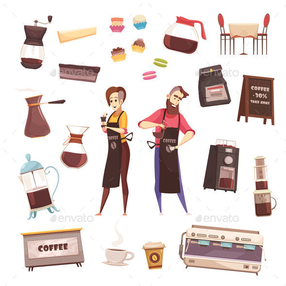 GraphicRiver Coffee House Decorative Icons Set 20862440