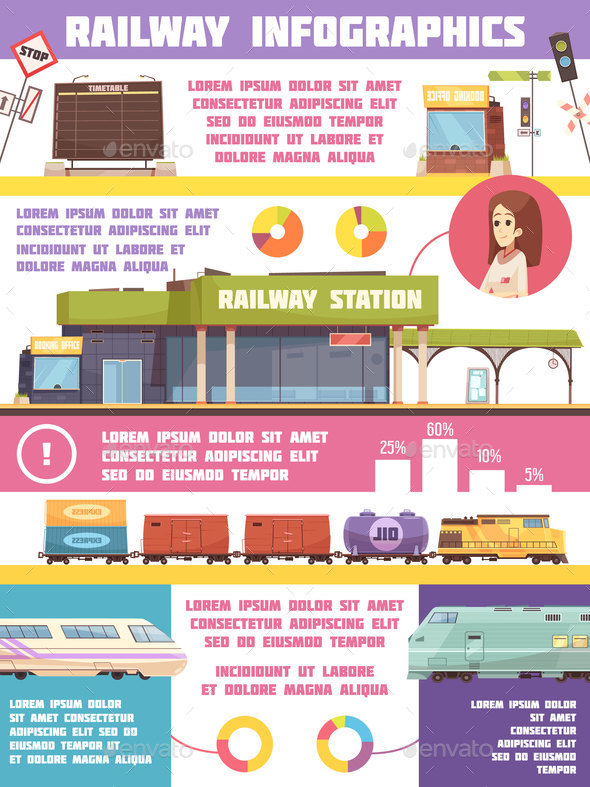 Railway Infographics Flat Template - Travel Conceptual