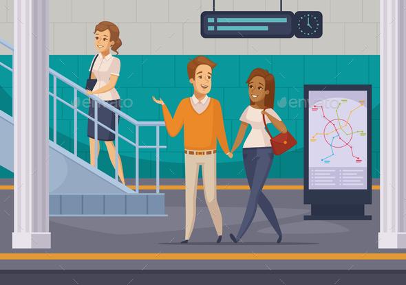 Subway Underground Passengers Cartoon Icons - People Characters