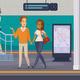 Subway Underground Passengers Cartoon Icons